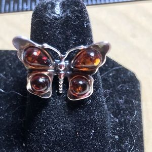 Amber and Sterling butterfly Ring